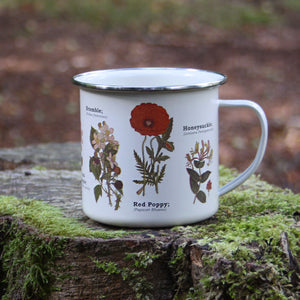 We are in love with our ecology enamelware mugs - This one is a perfect celebration of wildflowers! Whether to brighten up the kitchen, to make your guests smile, or as a gift, these mugs are a perfect eco-friendly alternative to disposable cups. Embrace nature with this enamel mug with all over wildflower print. Enjoy at home or out and about with these versatile mugs, available in a range of styles!