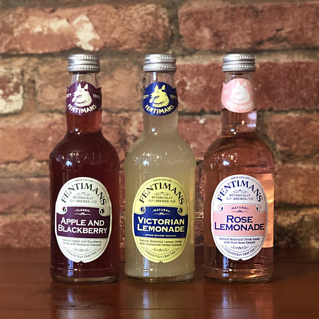 Natural Apple and Blackberry, Victorian Lemonade and Rose Lemonade drinks with botanical extracts in a glass bottle, fruity and refreshing!