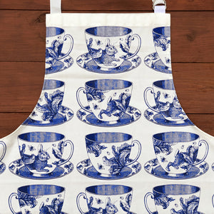 Craft the perfect Afternoon Tea with our exquisite hand printed 100% cotton Teacup apron! In gorgeous blues, this high quality apron will have you looking like a kitchen superstar while protecting you from any potential icing sugar disasters! This Thornback & Peel apron would make a wonderful gift for yourself or a loved one.