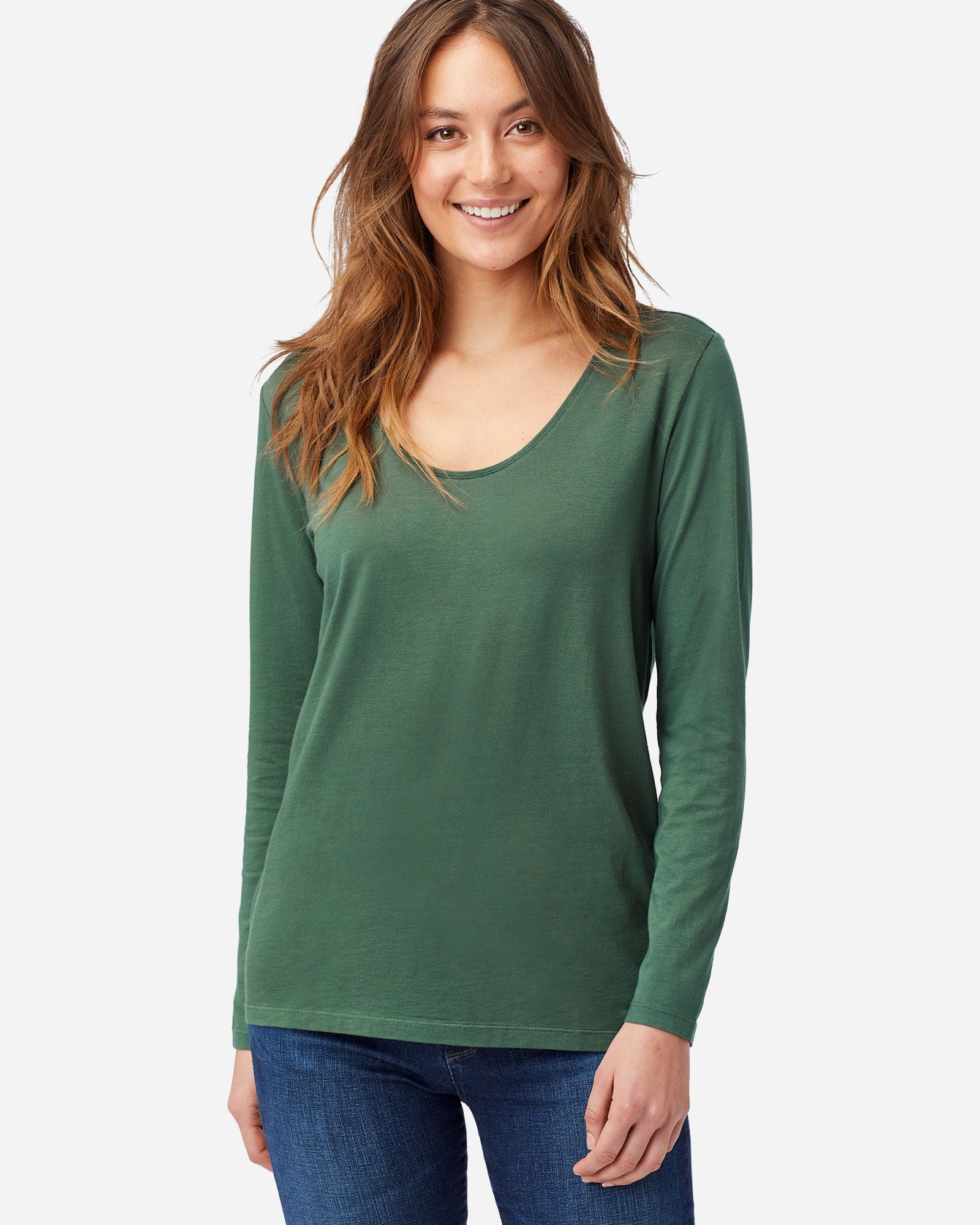 L/S Scoop Tee - Garden Green