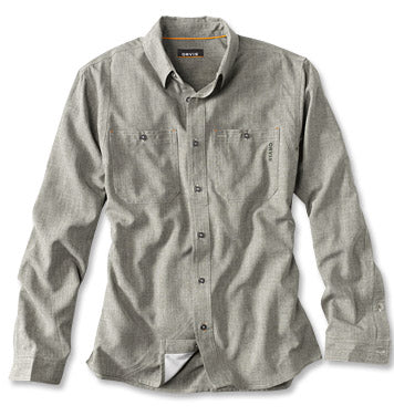 TECH CHAMBRAY LS WORK SHIRT - Rifle Green