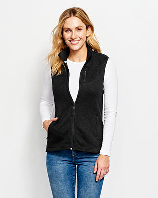 WOMEN'S MARLED SWEATER FLEECE VEST - Black