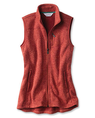 WOMEN'S MARLED SWEATER FLEECE VEST - Washed spice