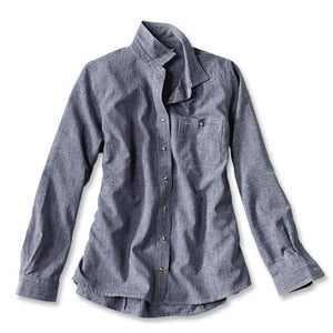 WOMEN'S TECH CHAMBRAY WORK SHIRT - Blue chambray