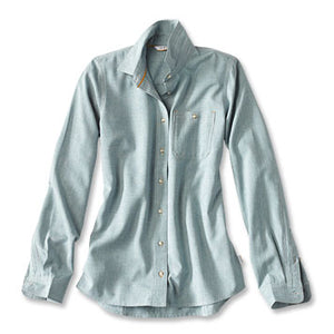 WOMEN'S TECH CHAMBRAY WORK SHIRT - Tropic blue
