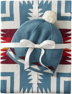 Knit Sherpa Baby Blanket and Beanie Gift Set Harding Teal