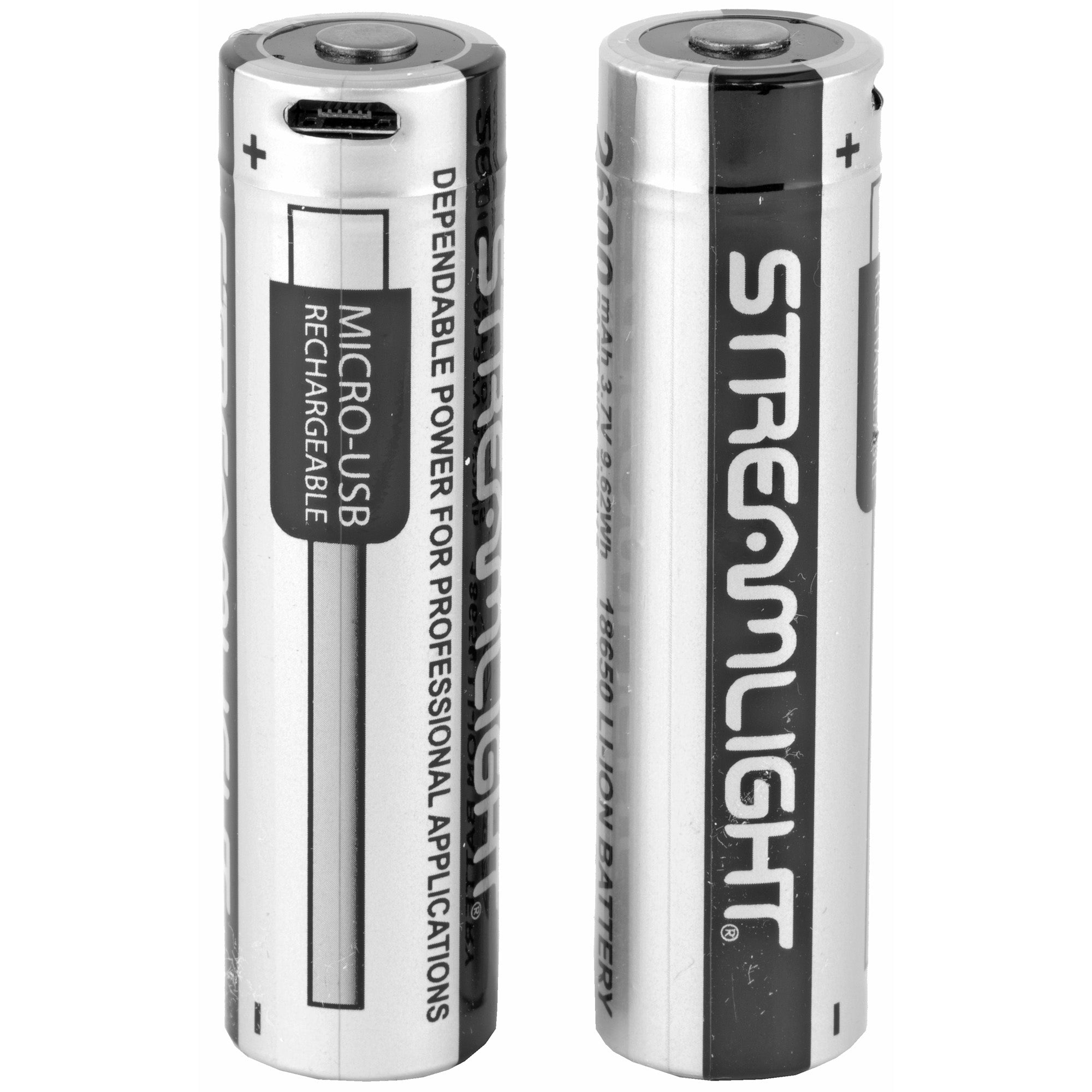 Streamlight, 18650, USB Rechargable Battery, 2/Pack, Clam Pack