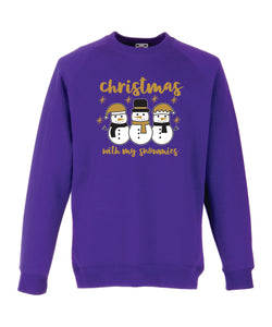 Kids Christmas Sweatshirt (Christmas with My Snowmies)