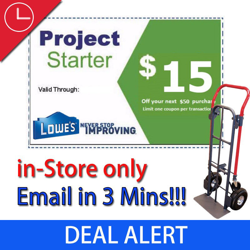 One Lowe's $15 Off Next $50 (In-store Purchase Only)- Expires 07/02/17