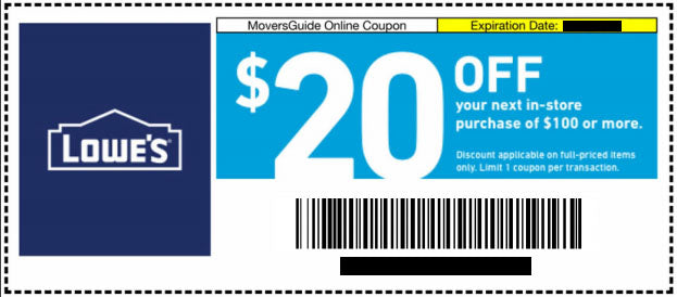 Three Lowes $20 Off Next $100 Purchase- Expires 01/31/21