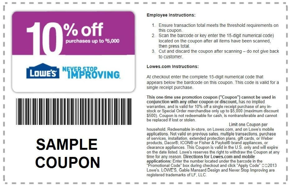Five Lowes 10% Off Digital Coupons- Expires 09/30/18