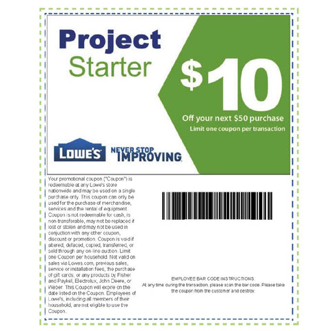 One Lowe's $10 Off Next $50 Purchase- Expires 11/19/18