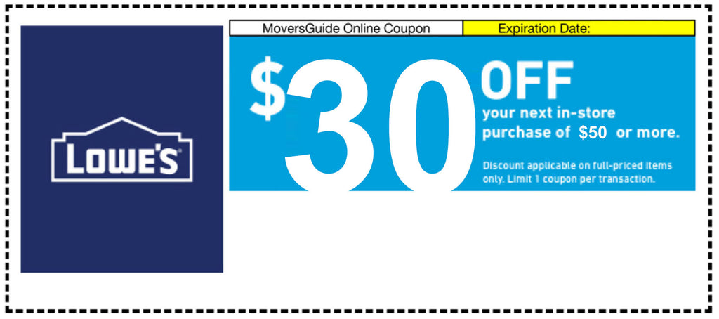 One Lowes $30 Off Next $50 Purchase (In Store Purchase Only)- Expires 12/15/19