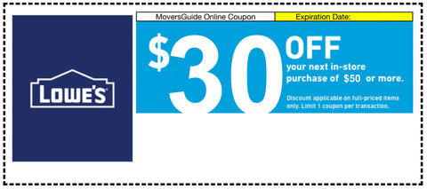One Lowes $30 Off Next $50 Purchase (In Store Purchase Only)- Expires 11/15/19
