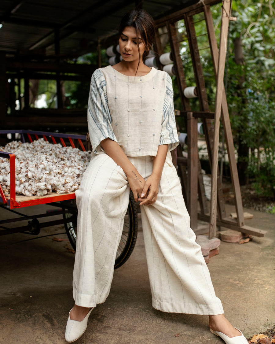 Kala Cotton Pleated Pants with Vertical Woven Lines