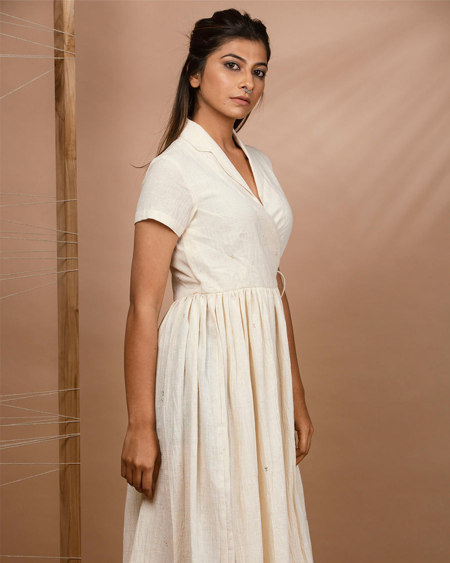Off White Kala Cotton Angarkha Dress with Gathers