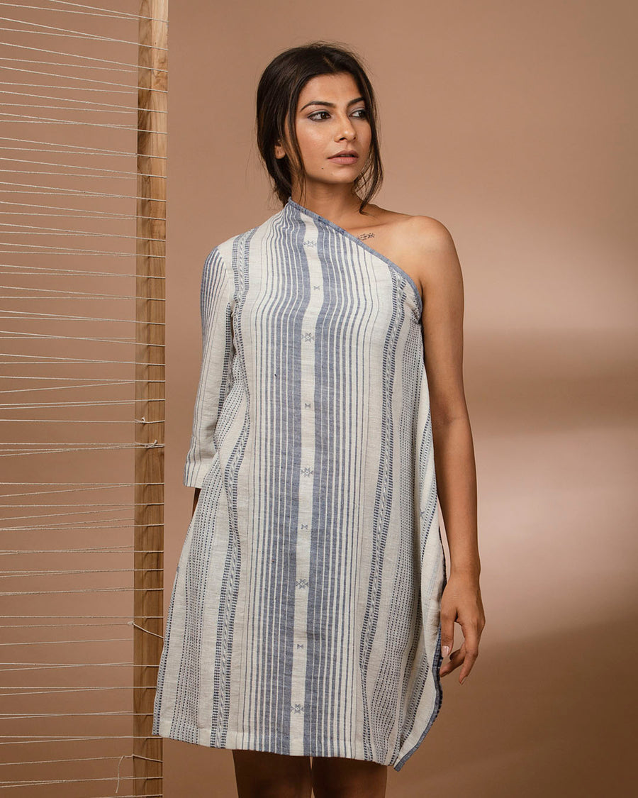 Kala Cotton One Shoulder Dress with Woven Vertical Stripes and Motifs