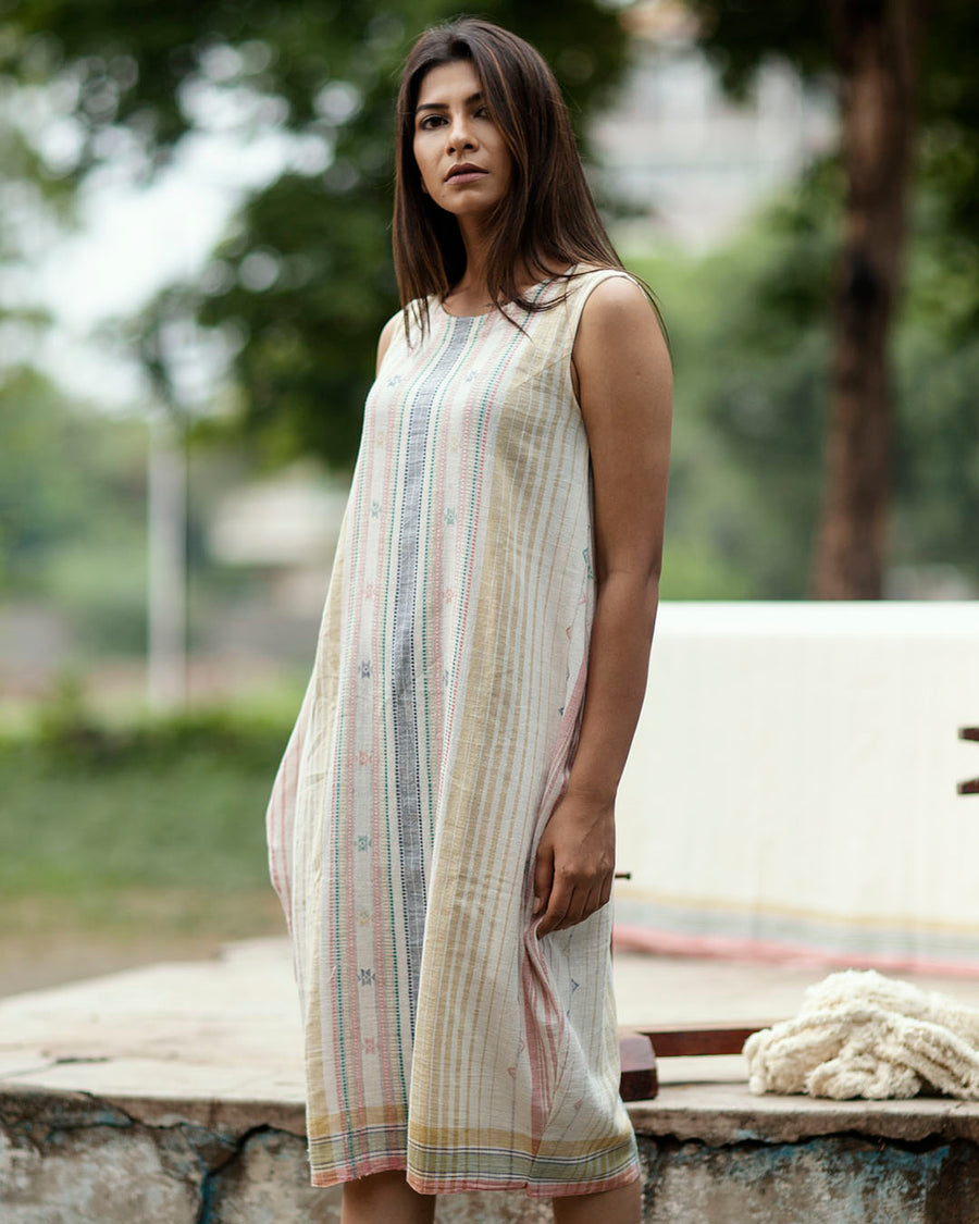 Offwhite Cocoon Dress with Multi Colour Woven Stripes and Motifs