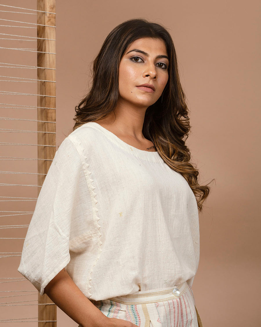 Off White Kala Cotton Butterfly Top with Self Hand Embroidery Detailing