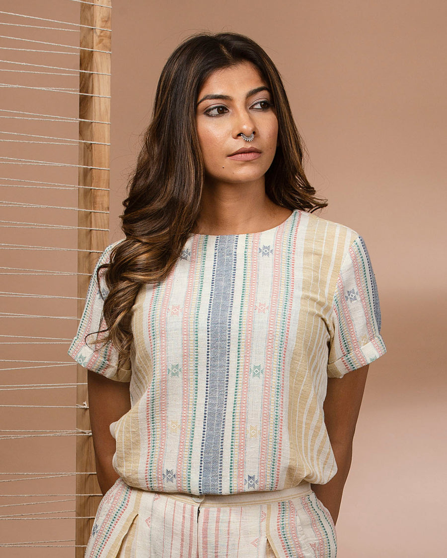 Kala Cotton T-Shirt Top Woven with Mutli Colour Vertical Stripes