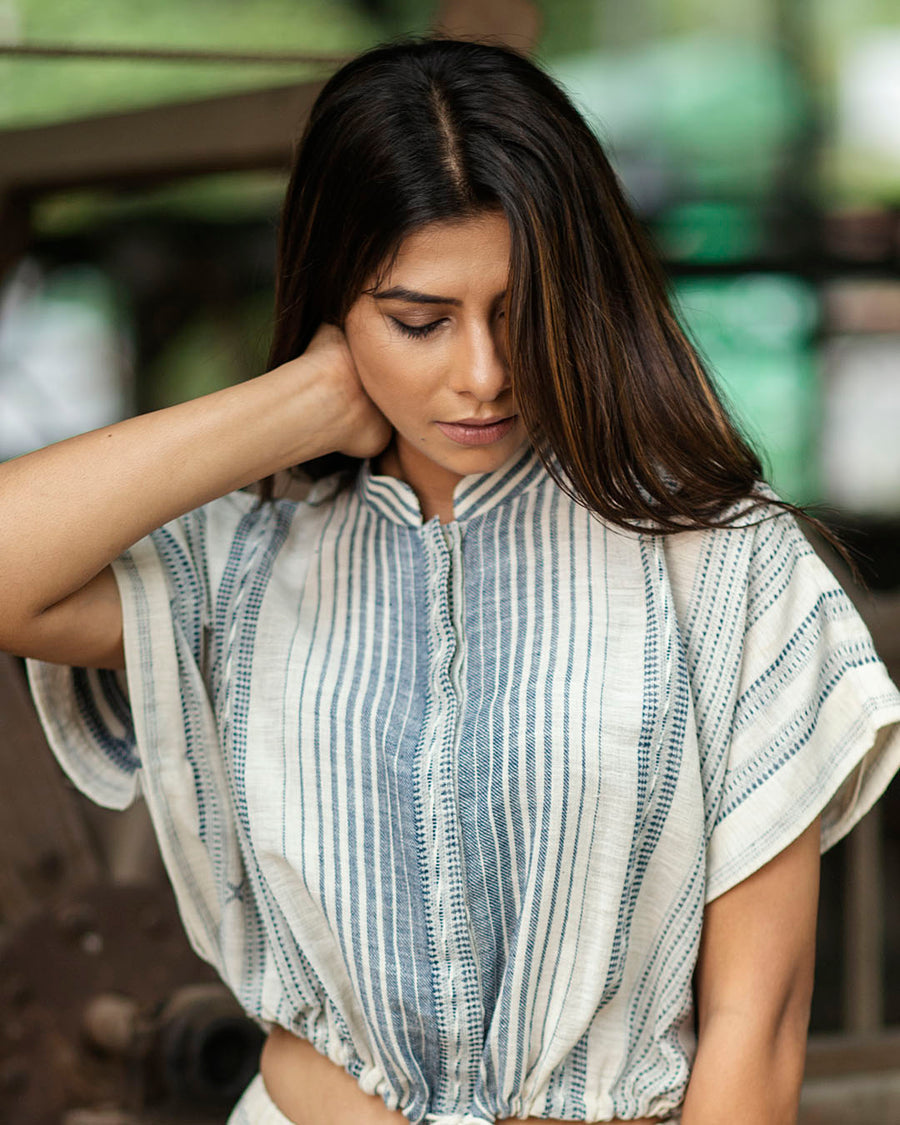 Blue Crop Top with Vertical Woven Stripes