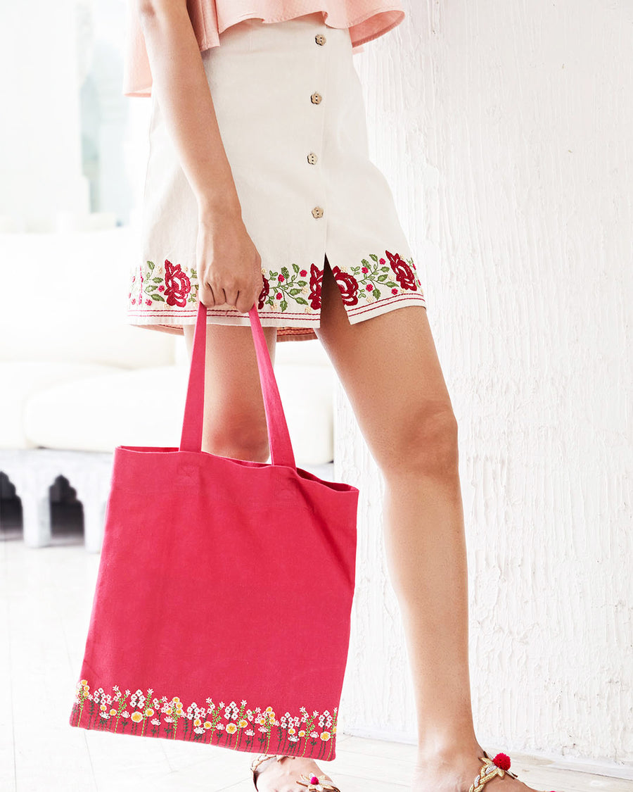 Hot Pink Embroidered Tote Bag