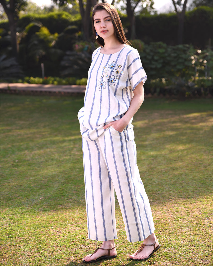 Blue Stripe Wide Pants