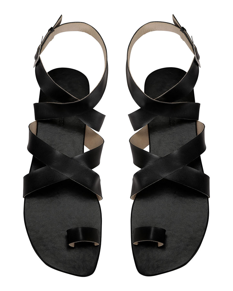 Criss Cross Ankle Flats Black