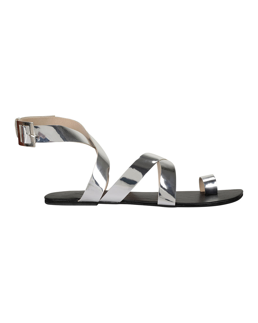 Criss Cross Ankle Flats Silver