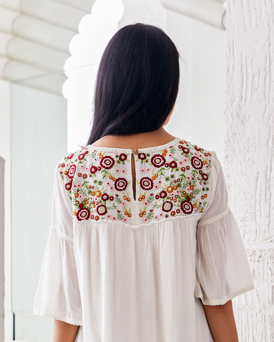 White Embroidered Floral Gather Dress