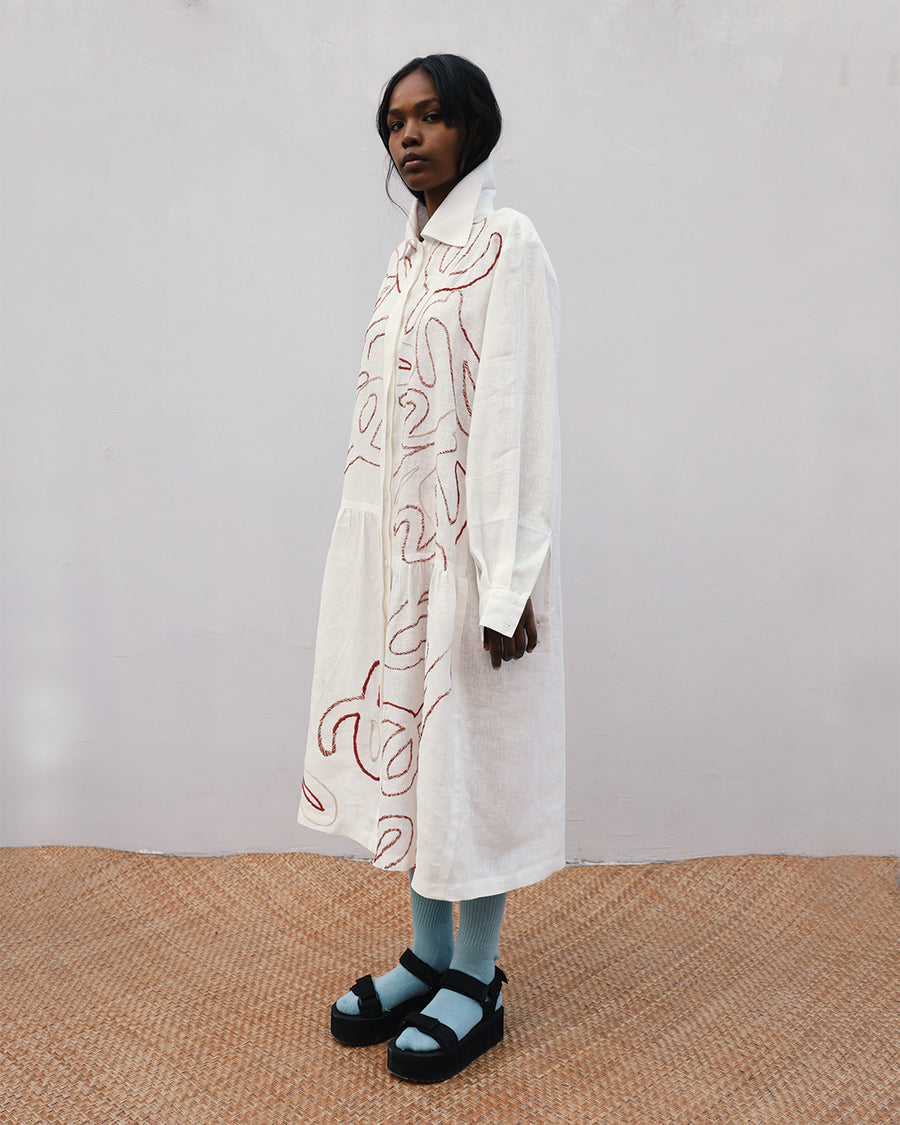 Alphabetic Embroidered Shirt Dress