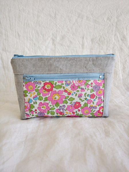 Devon Pouch - Pink Betsy with Grey Linen