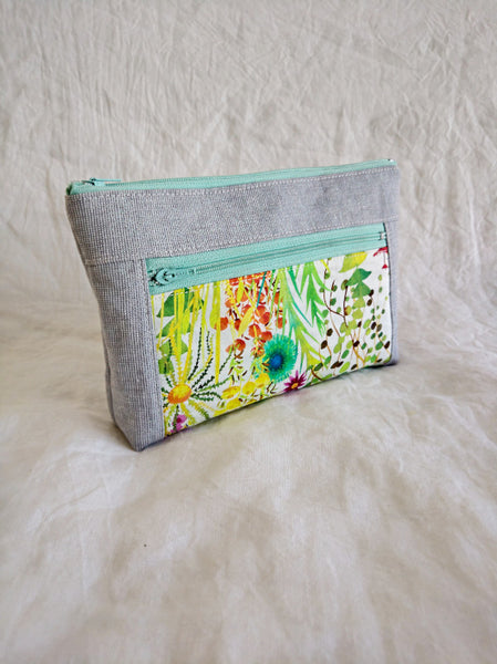 Devon Pouch - Tresco with Grey Linen
