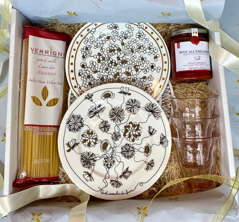 Hand Painted Italian gift set with bistro glasses