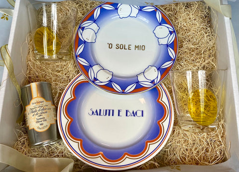 Curated gift sets for Christmas of Hand painted Italian plate and olive oil