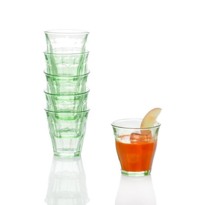 French Short Bistro Glasses in Green Kitchen Drinkware Drinks