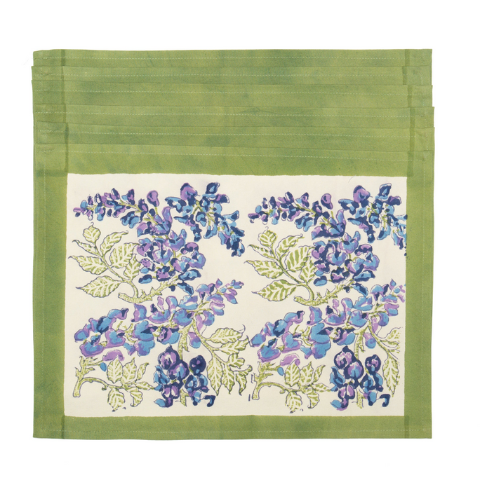 Wisteria Green & Blue Napkins Hand Made France Design Green and Blue