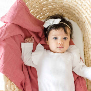 2 Stripe Red & Cream Woven Throw