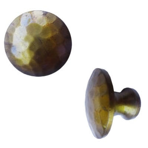Round Hammered Brass Knob