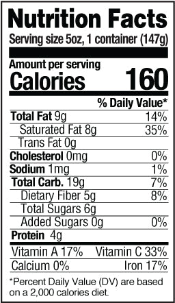 Strawberry vgurt nutrition facts table