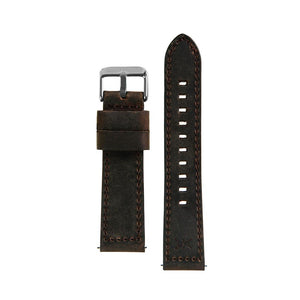 22MM - Brown Leather / Silver Buckle