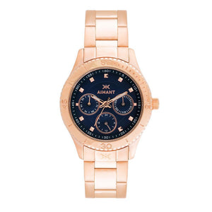 dakota rose gold blue watch for women