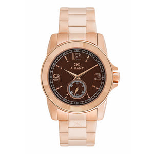 madison rose gold brown watch for women