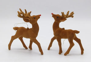 Vintage Flocked Rudolf Reindeer Christmas Ornaments Pair