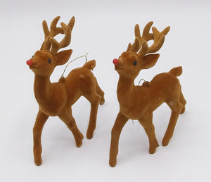Flocked Deer Ornaments