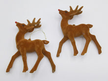 Load image into Gallery viewer, Vintage Flocked Rudolf Reindeer Christmas Ornaments Pair