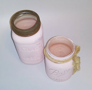 Pink Chalk Painted Mason Jars Set of 2