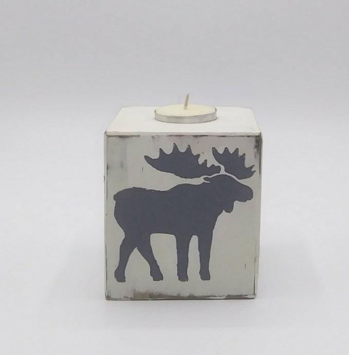 Block Tea Light Moose