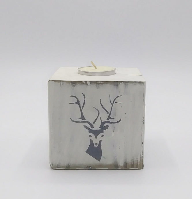 Wooden Block Tea Light Deer