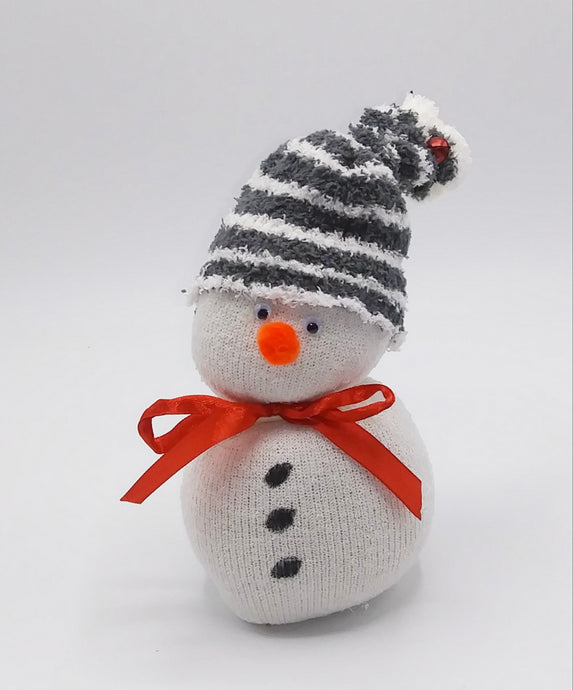 Sock Snowman Striped Hat